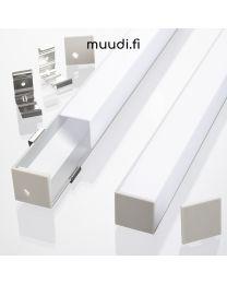 Iso Kulmalista kannella LED-nauhalle 2000mm AP02